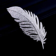 High Quality Cubic Zirconia Feather Brooch Broach Pin Pendant Dress Jewelry 1556