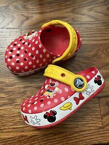 CROCS Minnie Mouse Toddler Girls light up clogs sandal sz  C 6 polka dot worn 1X