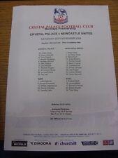 20/11/2004 COLORI teamsheet: Crystal Palace V Newcastle United (LEGGERA PIEGATURA).