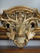 Wandkonsole Hirschkopf Barock Gold Konsole Antik Luxus Wandregal Jugendstil Edel