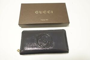 Authentic GUCCI GG Logo Leather Zip Around Wallet #8992