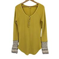 Free People Alpine Cuff Thermal Henley Top Women's Size L Button Front Yellow