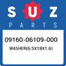 09160-06109-000 Suzuki Washer(6.5x18x1.6) 0916006109000, New Genuine OEM Part