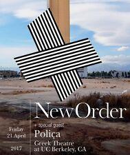 NEW ORDER/POLICA 2017 BERKELEY CONCERT TOUR POSTER-Alt Dance, Synthpop,Post-Punk