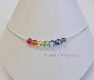Rainbow Anklet made with Swarovski Crystal & Sterling Silver   Minimalistic