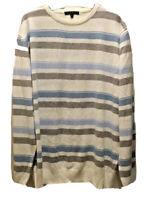 George Men's Stripe Jumper Sweater Pull Over Smart Soft White UK Size L Large
