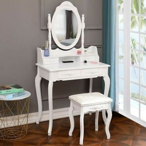 White Dressing Table Vanity Table & Stool Set Wood D esk with 4 Drawers & Mirror