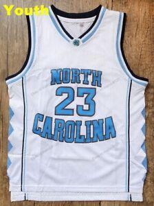 Youth Kids Michael Jordan 23 Basketball Jersey North Carolina Tarheel Sewn WHITE