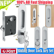 AU Cavity Sliding Door Lock Key Kit Smooth Oval Edge Fit 35-45mm Double Doors