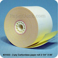 """#31033, 2-Ply Carbonless Paper Rolls, 2 1/4"""" x 85' - Case of 100 rolls"""