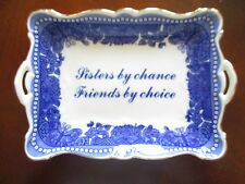 """Sisters by Chance ~ Friends by Choice"" Rectangular Dish by Godinger ~ Mint"