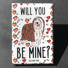 Bearded Collie Valentines Day Magnet Handmade Holiday Dog Gifts and Home Decor