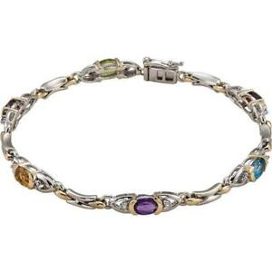 14K Two-Tone Gold Oval Gemstone and Diamond Tennis Line Bracelet Size 7.50