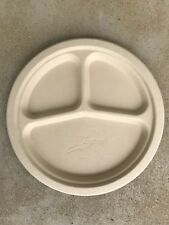 """Tree Free Bamboo Fiber Compostable 9"""" round plates Chemical Free Box of 500"""