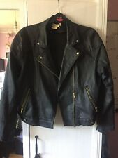H&M Women's Eur 44 Black And Gold Leather Jacket