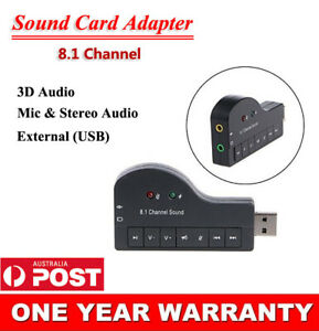 8.1 Channel USB External 3D Audio Sound Card Adapter For PC Laptop Headphone MIC