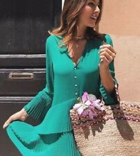ZARA genuine GREEN PLEATED DRESS BLOUSE BUTTONED TUNIC SIZE L
