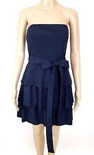 MAJE Navy Blue Belted Strapless Tiered Mini Dress Sz 38 / 6 US