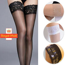 Women Lady Sexy Sheer Lace Thigh High Hold-ups Pantyhose Stay Up Stockings Black