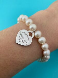 """Tiffany & Co Silver Heart Tag Freshwater Pearl Bracelet 7.5"""". 7-8mm Pearls"""