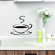 KITCHEN WALL COFFEE TEA CUP VINYL STICKER DECAL OUTLINE BLACK NEW 2014