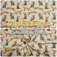80649 Digital Print Foxes Woodland 100% Cotton 150cm Wide Dressmaking Fabric