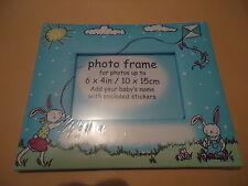 CADRE PHOTO - FOND BLEU motif lapins-dim.photo 10 * 15 cm + STICKERS LETTRES