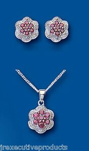 Ruby and Diamond Set Solid Sterling Silver Pendant and Stud Earrings