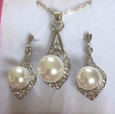 SE White Pearl White Gold P Matching Pendant Chain Necklace Earrings Plum UK SET