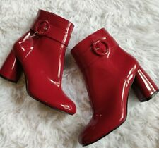 Nine West shiny red vinyl booties size 7.5 New without box