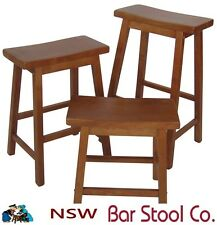 Full assembled Bar Stool Saddle style hardwood timber 65cm only TEAK