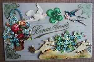 CPA celluloïd ajoutis découpis colombes hirondelle message panier fleurs