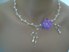 Parma necklace/ivory/white/crystal flower bridal wedding/evening/dress cheap