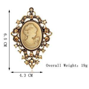 Vintage Cameo Flower Beauty Head Crystal Brooch Pin Women Wedding Bridal Jewelry