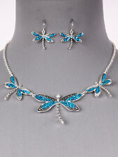 Dragonfly Blue Silver Tone Women New Fashion Jewelry Necklace Earring Set