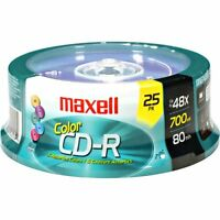 Maxell Cdr-700mx48/25cl 48x Color Write-once Cd-r Spindle For Data (maxell