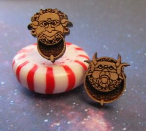 Labyrinth Movie Door Knocker Face Wood Stud Post Earrings, It's Rude to Stare