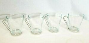Set Of 4 Bormioli Rocco Oslo Cappuccino Mugs Glass And Stainless Steel 6oz Italy