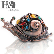 Hanmade Bejeweled Enameled Snail Hinged Trinket Box Animal Figurine Collectibles