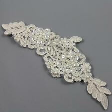 1 x CREAM BEADED BRIDAL LACE APPLIQUE 195 x 70mm SEW ON EMBELLISHMENT HL2121