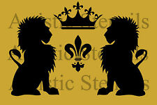 STENCIL French Lions Crown Fleur de lis   10x6.7 FREE US SHIPPING