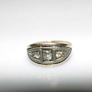 Ring gold Stempel 58 mit 3,1 g 3 Diamanten 17 mm D. Nachlass alt edel 11 mm