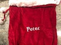 """Pottery Barn Kids Red Velvet Small Santa Bag Mono """"Peter"""""""