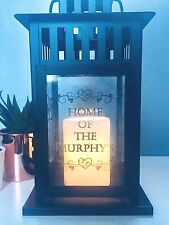 Personalised Large Black Metal Glass Home Quote Lantern Candle Holder Home Decor