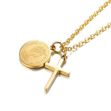 Gold Plated Elizabeth Coin&Cross Pendant Chain Necklace Stainless Steel Womens