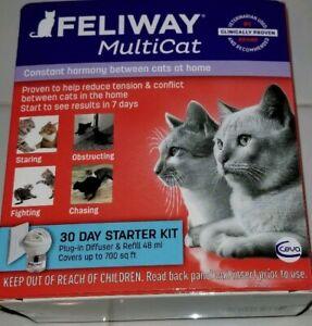 FELIWAY MULTI-CAT 30 DAY STARTER KIT PLUG-IN DIFFUSER REFILL 48 ml EXP 11/2020