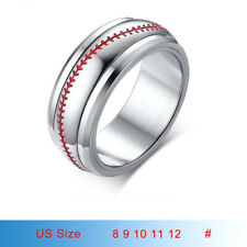 Sports Baseball Stitching Band Men Ring Rotary Spinner Stainless Steel Size 8-12