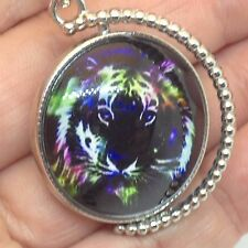 Reversible TIGER PENDANT NECKLACE Bubble Glass Bengal and White Wild Cat Jewelry