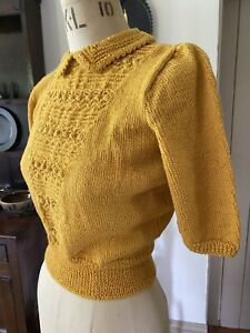 Beautiful 1940s Vintage Hand Knitted Jumper Forties From Original Pattern