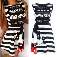 Women Summer Striped Sleeveless Cartoon Mickey Mouse High Waist Short Mini Dress